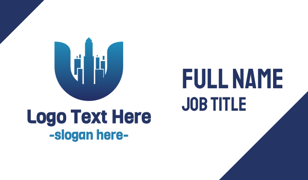 blue city - City Letter U Business card horizontal design