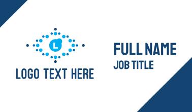 Blue Dot Pattern Lettermark Business Card