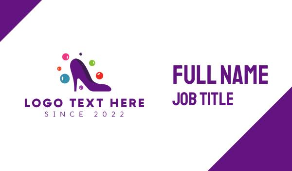footwear - Purple Fashion Stiletto Business card horizontal design