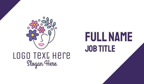 waxing - Female Flower Head Business card horizontal design