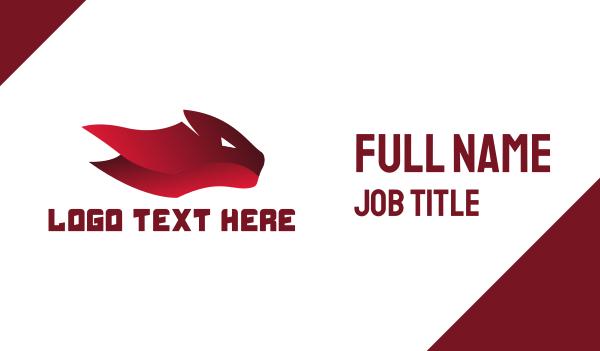 red tiger - Red Feline Business card horizontal design