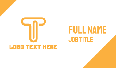 Orange T Clip Business Card