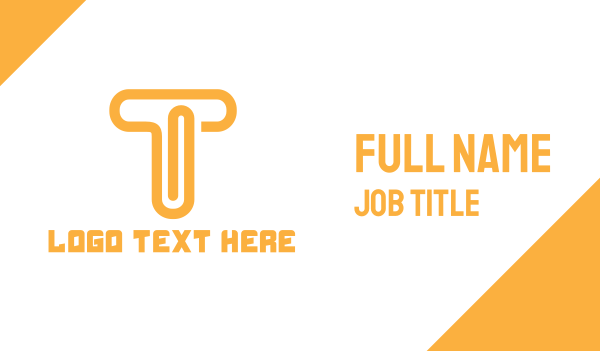data transfer - Orange T Clip Business card horizontal design