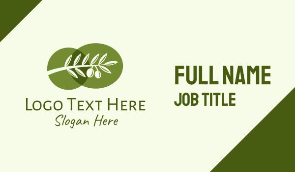 mediterranean - Natural Olive Branch  Business card horizontal design