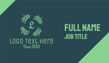 Green Laurel Lettermark Wreath Business Card