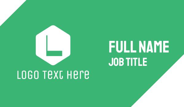 green hexagon - Green Hexagon Letter Business card horizontal design