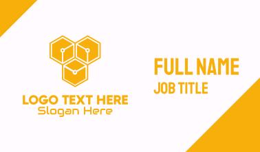 Yellow Circuitry Honeycomb Business Card