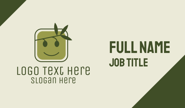 emoticon - Olive Branch Smile Business card horizontal design