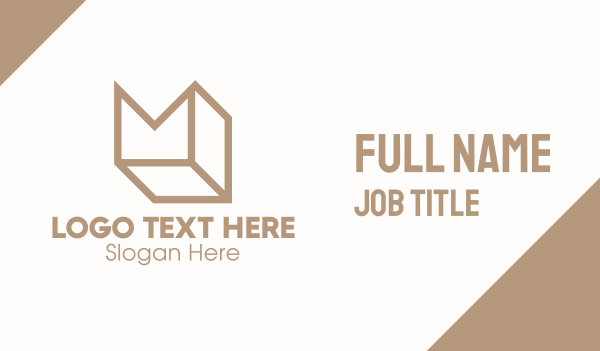 parcel - Elegant Brown Cube Letter M Business card horizontal design