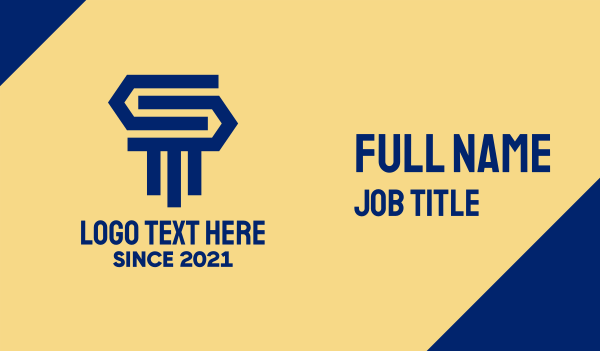 legal services - Blue Pillar Letter S  Business card horizontal design