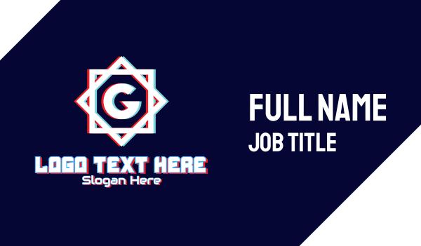 glitchy - Glitchy Letter G Monogram Business card horizontal design