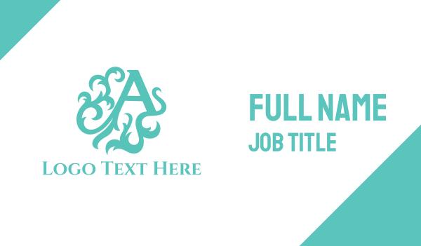 auckland - Green Letter A Business card horizontal design
