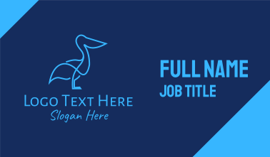 Blue Pelican Bird Business Card
