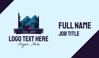 Outdoor Mountain Campsite Business Card