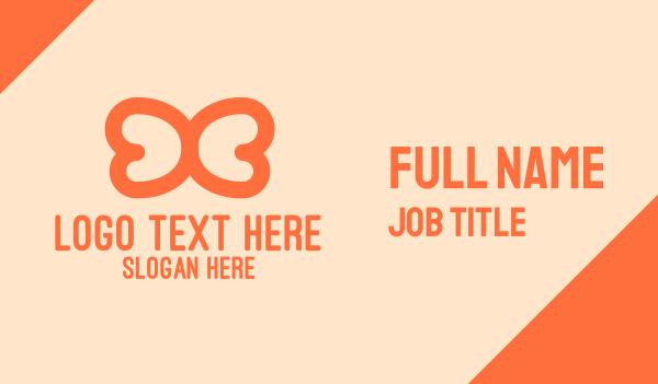 lineart - Orange Wings Outline Business card horizontal design