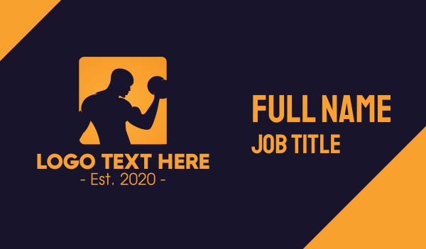 bodybuilder - Orange Bodybuilding Gym Business card horizontal design