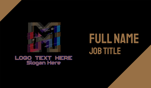 m - Gradient Glitch Letter M Business card horizontal design