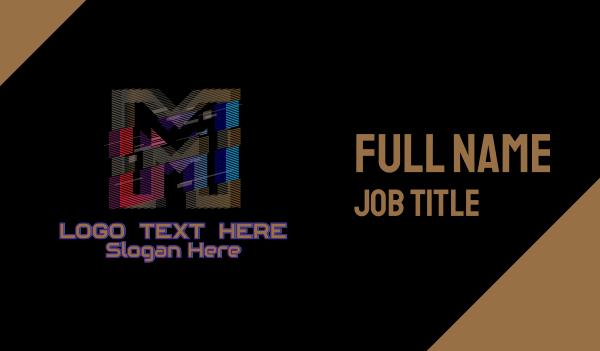 malfunction - Gradient Glitch Letter M Business card horizontal design