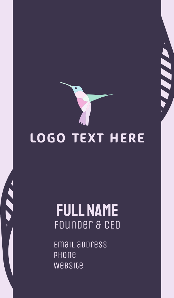 Pink Hummingbird Business Card
