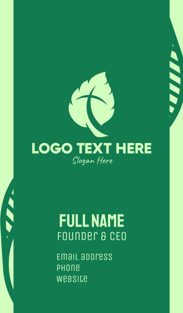Green Leaf Crucifix Business Card