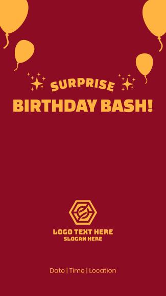 Surprise Birthday Bash Facebook story