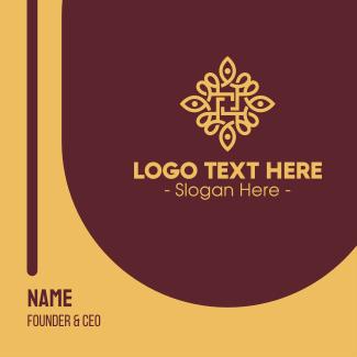 Golden Flower Spa Emblem Business Card