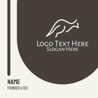 Minimalist White Kangaroo Business Card