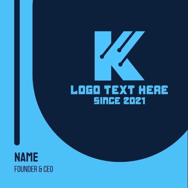 Blue Letter K Tech Business Card