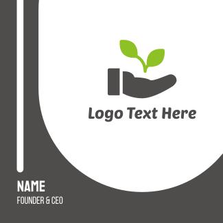 Hand Eco Plant Grow Business Card