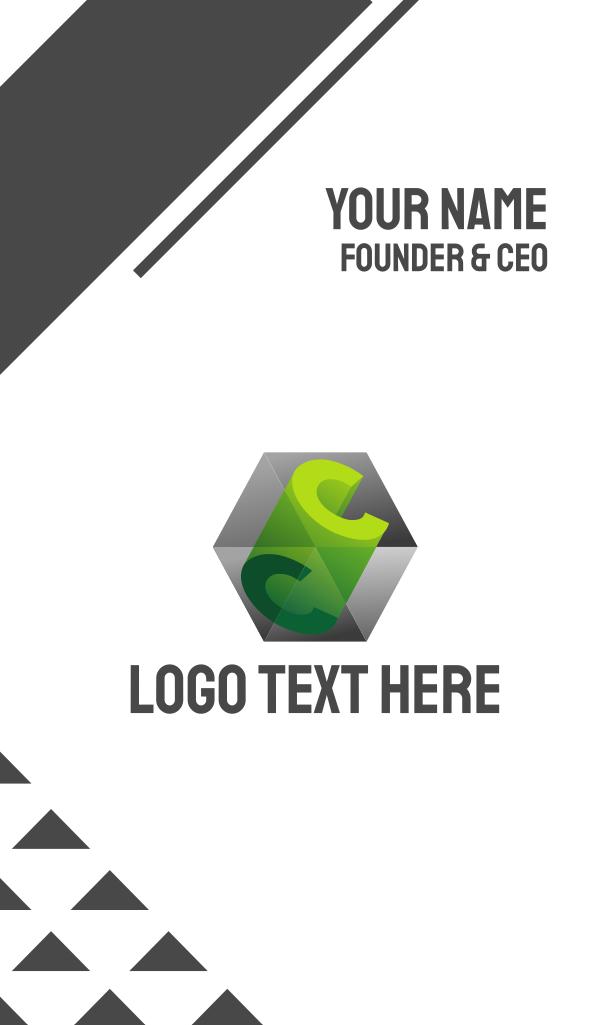 3D C Cube Prism Business Card