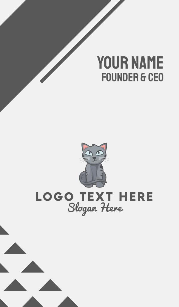 Cute Gray Cat Business Card