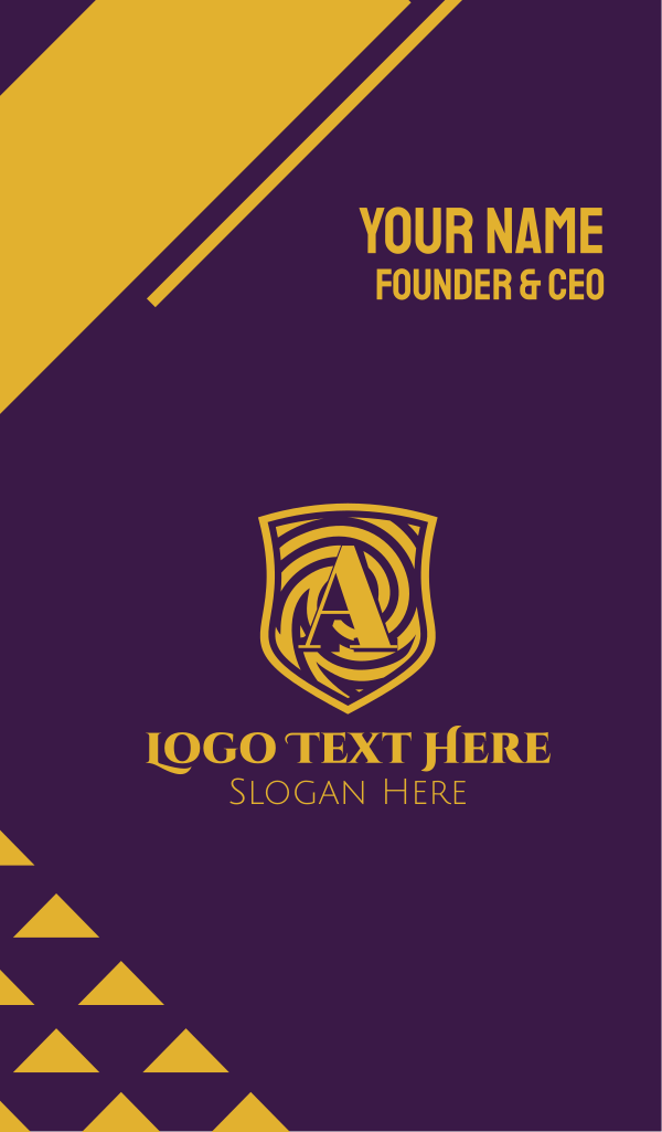 Gold Spiral Shield Letter A Business Card
