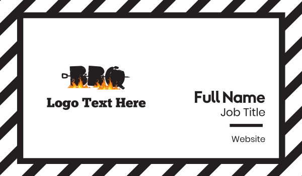 stick - Barbecue Letters Business card horizontal design
