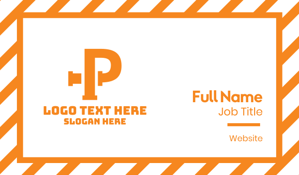pipeline - Orange P Pipe Business card horizontal design