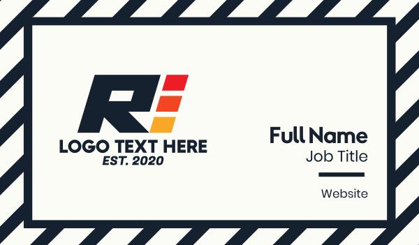 fuel - Racing Letter R Business card horizontal design