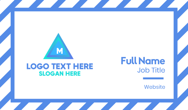 blue triangle - Blue Triangular Lettermark Business card horizontal design