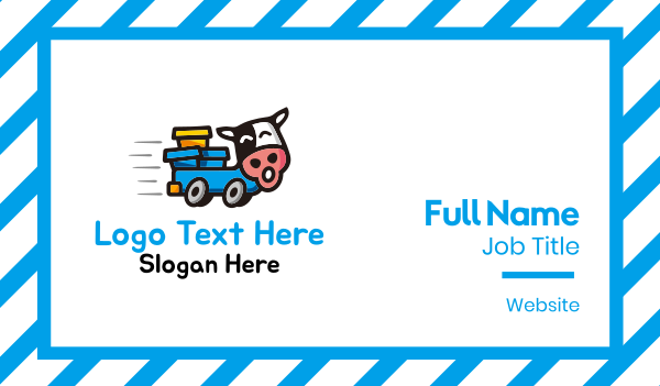 delivery service - Cow Milk Truck Business card horizontal design
