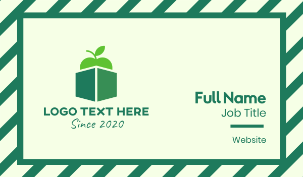delivery - Green Organic Apple Box Business card horizontal design