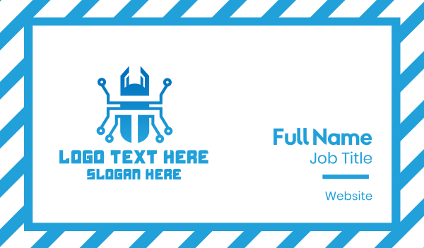 tech - Blue Tech Beetle Business card horizontal design