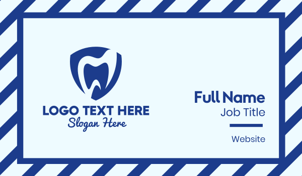 dental care - Blue Dental Shield Business card horizontal design
