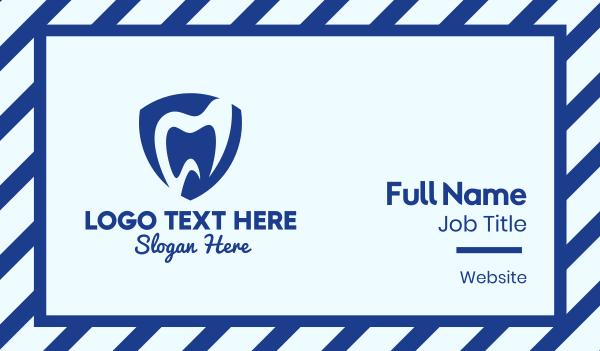 dental clinic - Blue Dental Shield Business card horizontal design