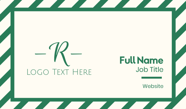 couture - Green Cursive Letter R Business card horizontal design