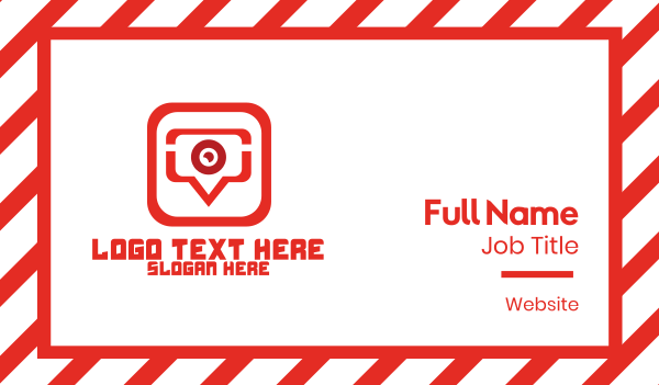 webcam - Red Video Chat App Business card horizontal design