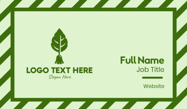 sweeper - Nature Leaf Broom Business card horizontal design
