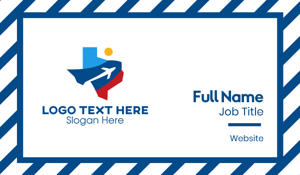 air travel - Texas Air Travel Business card horizontal design