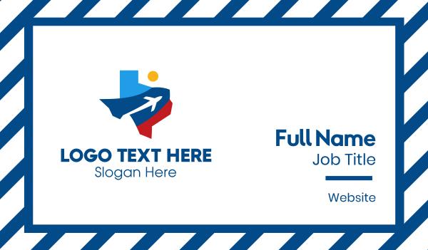 transportation - Texas Air Travel Business card horizontal design