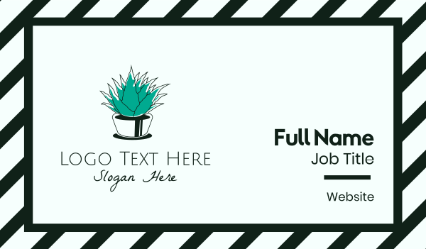 home garden - Green Aloe Vera Business card horizontal design