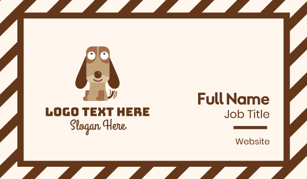 groomers - Excited Beagle Dog  Business card horizontal design