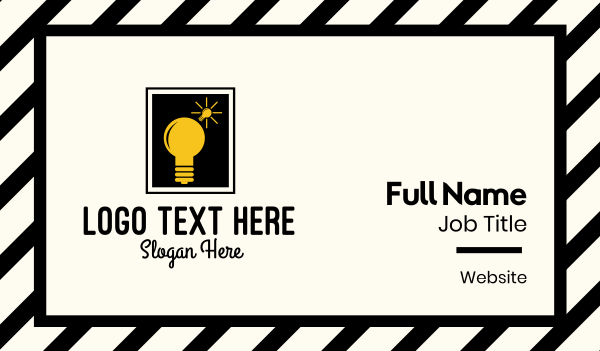 strategy - Lightbulb Idea Frame Business card horizontal design