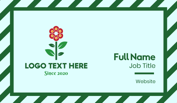 bloom - Red Flower Business card horizontal design